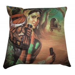 Printed Rajasthani Village Man and Women Cushion Cover