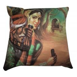 Printed Rajasthani Village Man and Women Cushion Cover