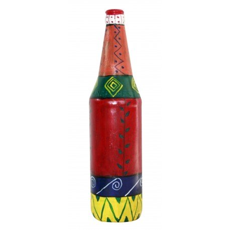 Painted Decorative Multi Colour Glass Bottle