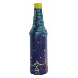 Painted Blue Warli Art Glass Bottle