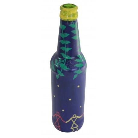 Painted Blue Warli Art Glass Bottle