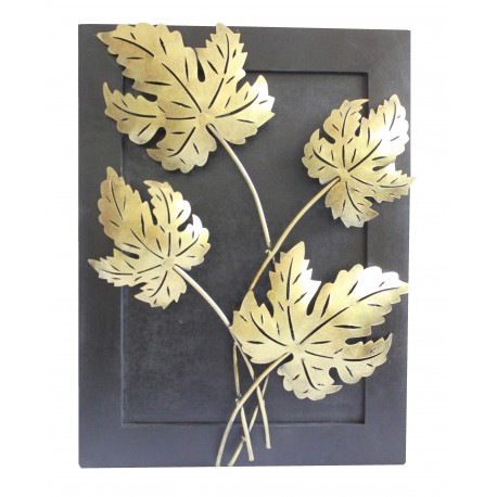 Wooden Frame Wrought Iron Maple Leaf Wall Decor