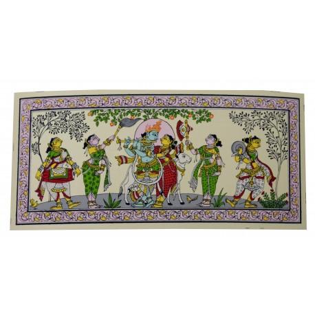 "Odisha Pattachitra Radha Krishna Painting On Silk 6"" by 12"""