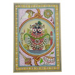 "Odisha Pattachitra Puri Jagannath Painting on Palm Leaf 12"" by 16"""
