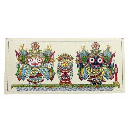 """Odisha Pattachitra Painting Puri Jagannath on Silk 6"""" by 12 """""""