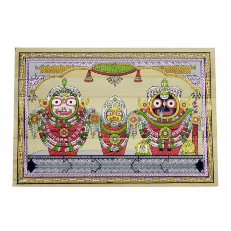 "Odisha Pattachitra Puri Jagannath Painting on Palm Leaf 7"" by 9 """