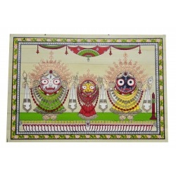 "Odisha Pattachitra Puri Jagannath Painting on Palm Leaf 7"" by 9 """