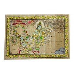 "Odisha Pattachitra Painting Krishna Arjun Rath on Palm Leaf 7"" by 9"""