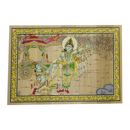 "Odisha Pattachitra Painting Krishna Arjun Rath on Palm Leaf 7"" by 9"""