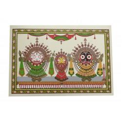 "Odisha Pattachitra Puri Jagannath Painting on Silk Leaf 12"" by 16"""