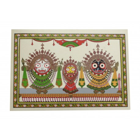 "Odisha Pattachitra Puri Jagannath Painting on Silk Leaf 12"" by 16"""