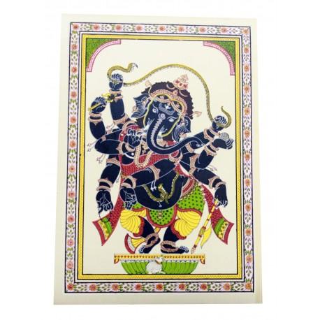 "Pattachitra Ganesha Painting On Silk 7"" by 9"""