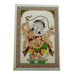"Pattachitra Ganesha Painting On Silk 7"" by 9"""