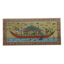 "Pattachitra Village Scene Painting Palm Leaf 4"" by 8"""