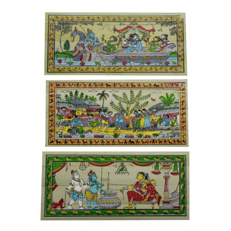 "Pattachitra Pack of Three Palm Leaf Painting 4"" by 8"""