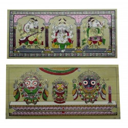 Pattachitra Ganesha and Jagannath Puri Palm Leaf Painting