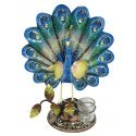 Wrought Iron Painted Ethnic Peacock Tea Light Holder Showpiece