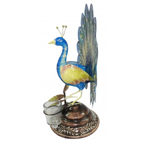 Wrought Iron Painted Ethnic Peacock T Light Holder Showpiece