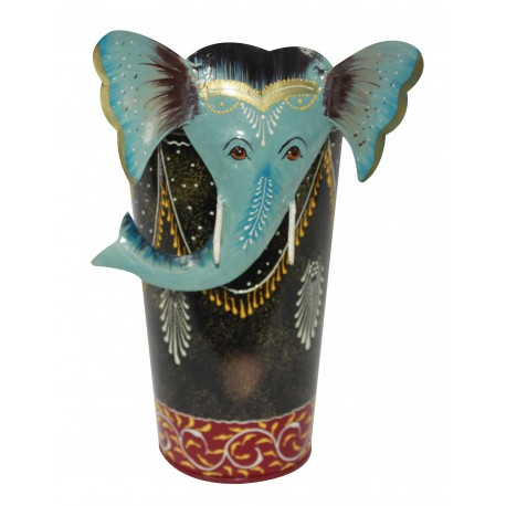 Ethnic Wrought Iron Elephant Face Decorative Flower Vase