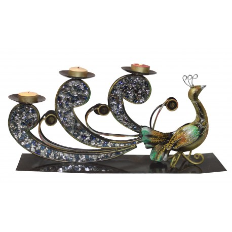 Ethnic Peacock With Tealight Candle Holder Wrought Iron