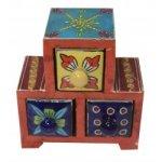 Ceramic Three Drawer Wooden Box Jewelery Box Drawer Spice Box