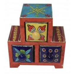 Ceramic Three Drawer Wooden Box Jewelery Box Drawer Spice Box