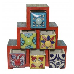 Wooden Ceramic Six Drawer Emboss Painted Jewellery Box/ Spice Box