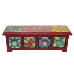Wooden Ceramic Four Drawer Emboss Painted Jewellery Box/ Spice Box Wooden Box