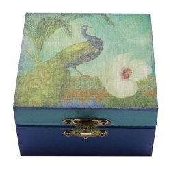 Peacock Design Decoupage Wooden Watch Box Jewelery Box