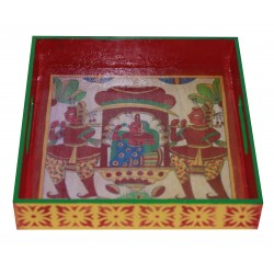 Handpainted Decoupage Palki Palanquin Bride Painting Wooden Tray 8""