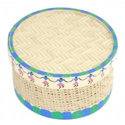 Warli Art Painted Cane Multi Purpose Box Decorative Box