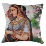 Ethnic Digital Printed Rajasthan Lady With Flower Cushion Cover 16 inch