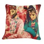 "Digital Printed Ethnic Rajasthani Puppets Cushion Cover 16"""