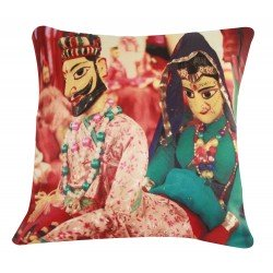 Digital Printed Ethnic Rajasthani Puppets Cushion Cover 16""