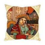 "Digital Printed Mughal Empress Ethnic Cushion Cover 16"" by 16"""