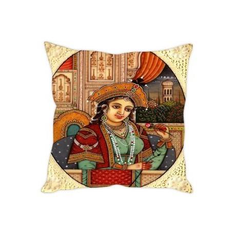 "Digital Printed Mughal Empress Ethnic Cushion Cover 16"" by 16"""