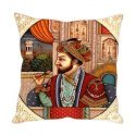 "Printed Ethnic Mughal Emperor Print Cushion Cover 16"" by 16"""