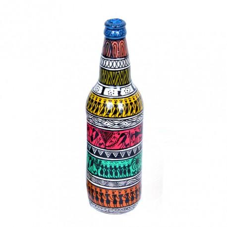 Handpainted Warli Art Decorative Bottle Vase