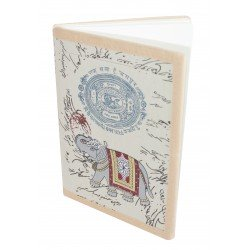 Handmade Old Stamp Paper Print Notebook Diary Elephant Painting