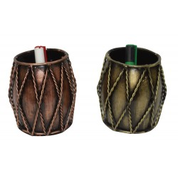 Set of Two Ethnic Dholak Drum Shape Pen Pencil Holder
