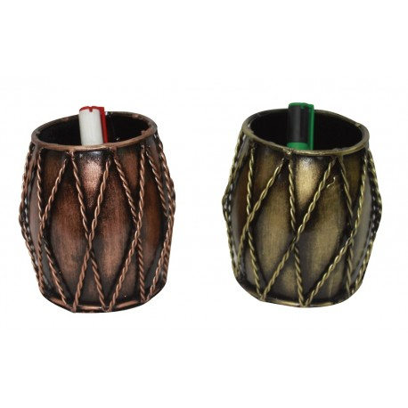 Set of Two Ethnic Dholak Drum Shape Pen Pencil Holder