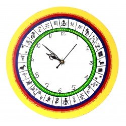 Handpainted Yellow Ethnic Design Wooden Wall/ Desk Clock