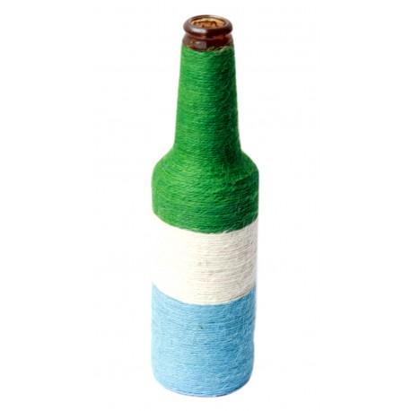 Colourful Twine Wrapped Decorative Glass Bottle Vase
