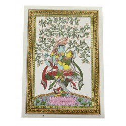 "Pattachitra Radha Krishna Painting On Silk 10"" by 14"""