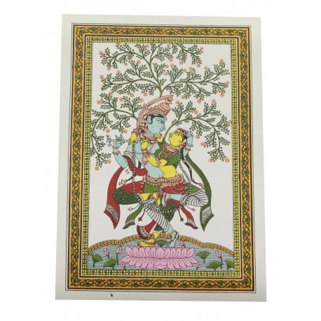 "Pattachitra Radha Krishna Painting On Silk 10"" by 14"""