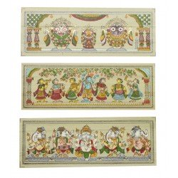 Set of Three Pattachitra Art Puri jagannath, Ganesha and Radha Krishna Painting
