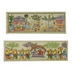 "Set of Two Pattachitra Art Painting on PalmLeaf 3"" x 7.5"""
