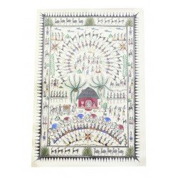 "Pattachitra Tribal Art Painting on Silk 14"" by 18"""