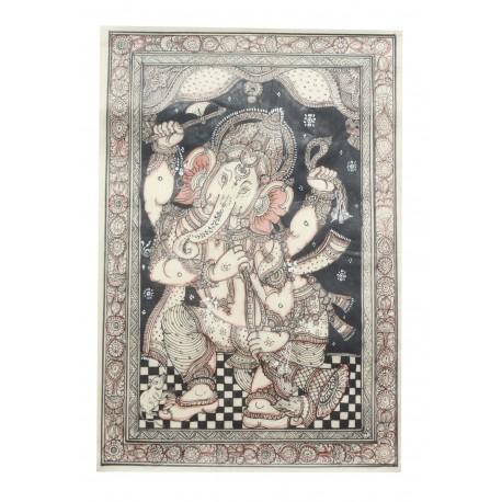 "Ganesha Painting On Silk Pattachitra Art 20"" x 13 """