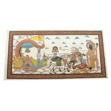"Krishna Arjun Mahabhartha Kurukshetra Painting On Silk 19"" x 28"""
